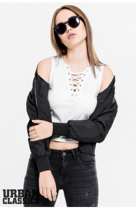Ladies Lace Up Cropped Top in weiss