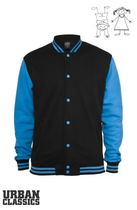 Kids 2-tone College Sweatjacket in turquoise
